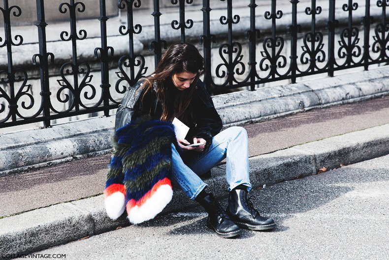 Paris_Fashion_Week-Fall_Winter_2015-Street_Style-PFW-Leather_Jacket-Fur_Scarf-Levis-DR_Martens-