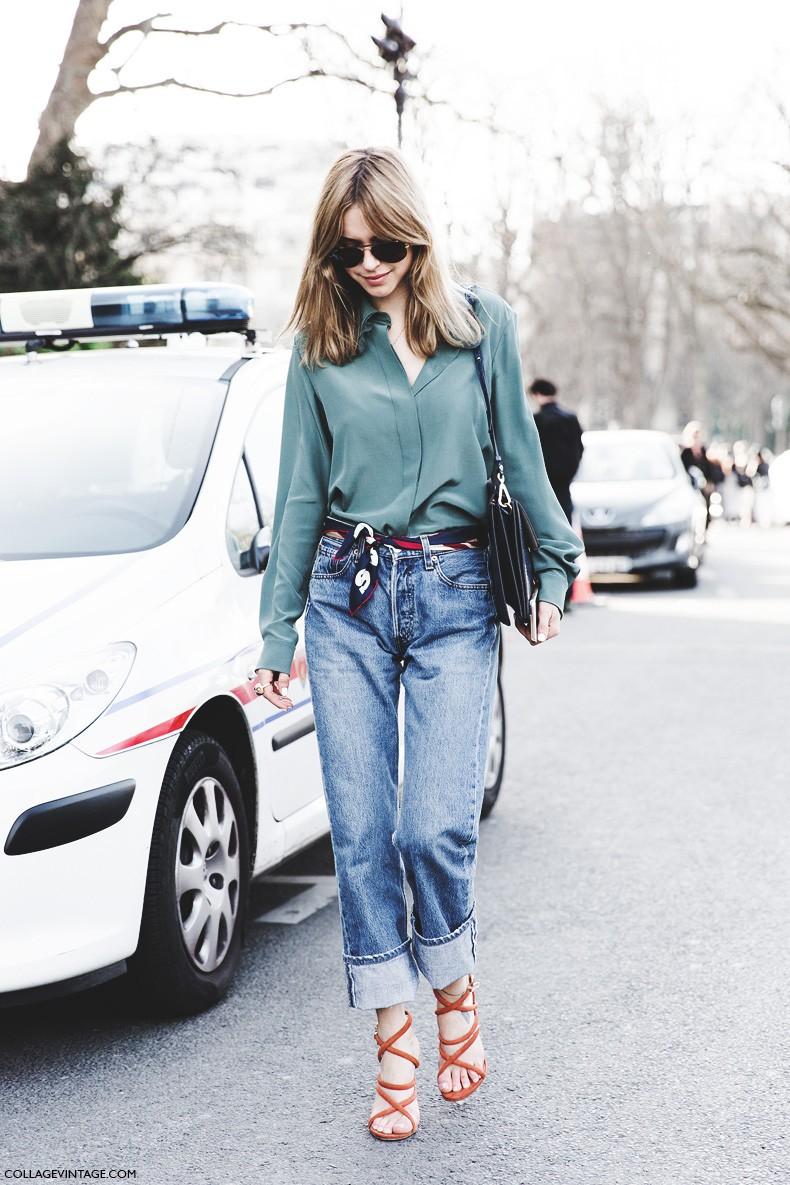 Paris_Fashion_Week-Fall_Winter_2015-Street_Style-PFW-Look_De_Pernille-Chloe_Bag-Scarf_As_Belt-LEvis_Jeans-4