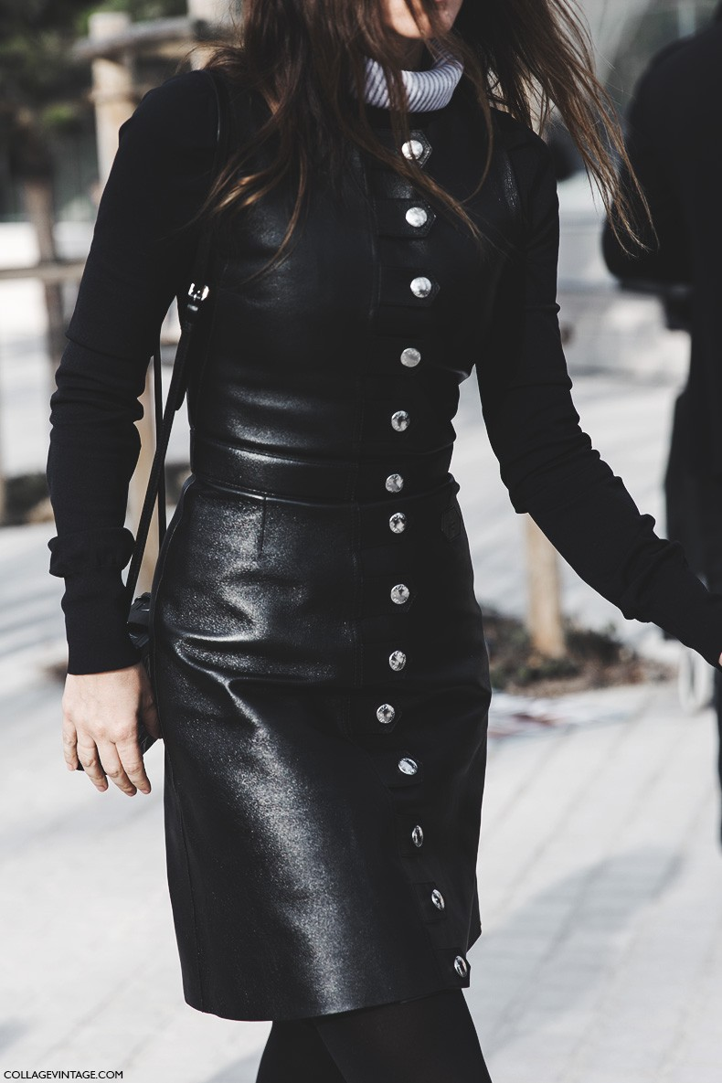 Paris_Fashion_Week-Fall_Winter_2015-Street_Style-PFW-Louis_Vuitton-Leather_Dress-1