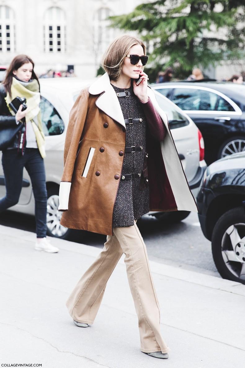 Paris_Fashion_Week-Fall_Winter_2015-Street_Style-PFW-Olivia_Palermo_Leather_Coat-Giambatista_Valli-Flared_Trousers-2
