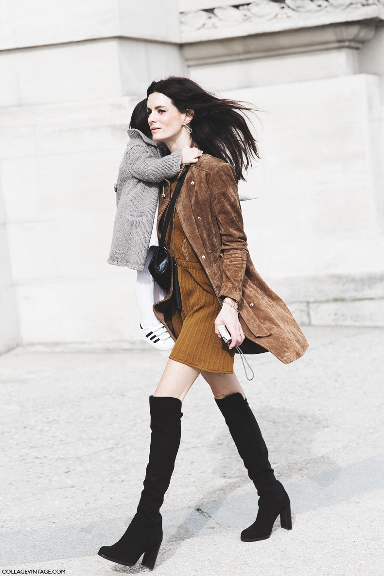 Paris_Fashion_Week-Fall_Winter_2015-Street_Style-PFW-Over_The_knee_Boots-Suede_Coat-