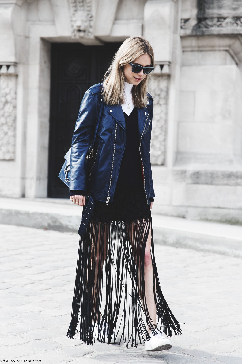 Paris_Fashion_Week-Fall_Winter_2015-Street_Style-PFW-Pernille-Leather_Jacket-Fringed_Skirt-Sneakers-Chloe_Bag-