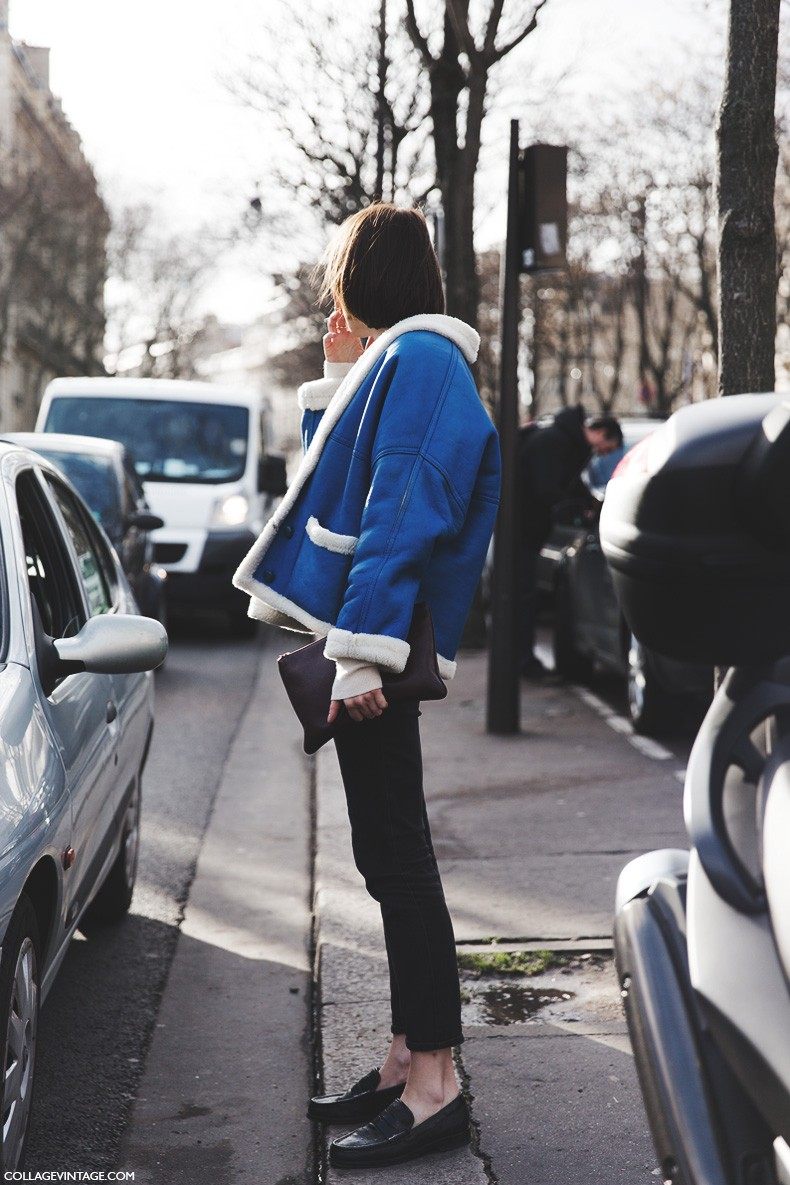 Paris_Fashion_Week-Fall_Winter_2015-Street_Style-PFW-Shearling_Coat-Blue-Loafers-1