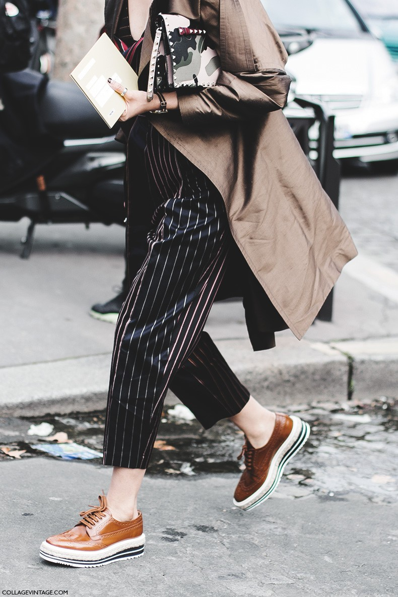Paris_Fashion_Week-Fall_Winter_2015-Street_Style-PFW-Striped_Trousers-Prada_Oxfords-Valentino_Bag-