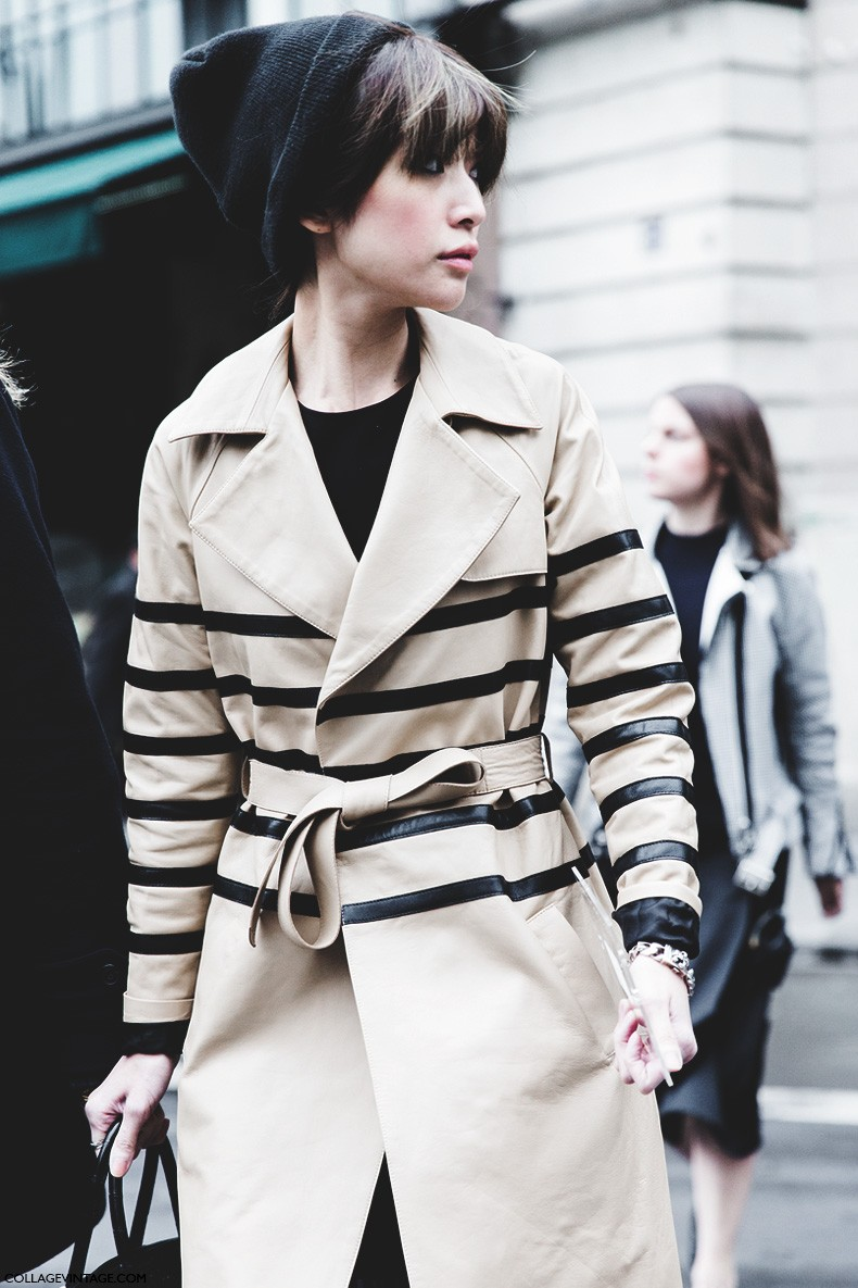 Paris_Fashion_Week-Fall_Winter_2015-Street_Style-PFW-Striped_trench-Beanie-Stella_McCartney-