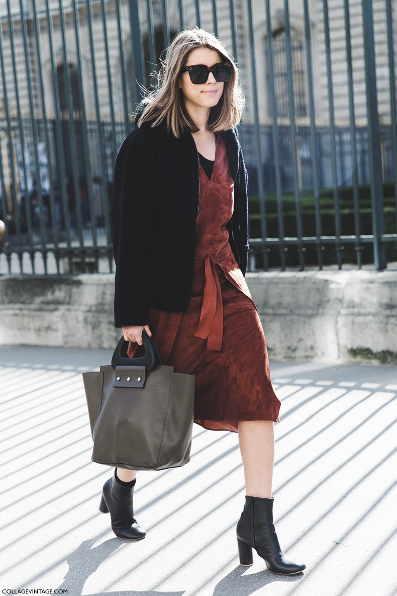 Paris_Fashion_Week-Fall_Winter_2015-Street_Style-PFW-Suede_Dress-1