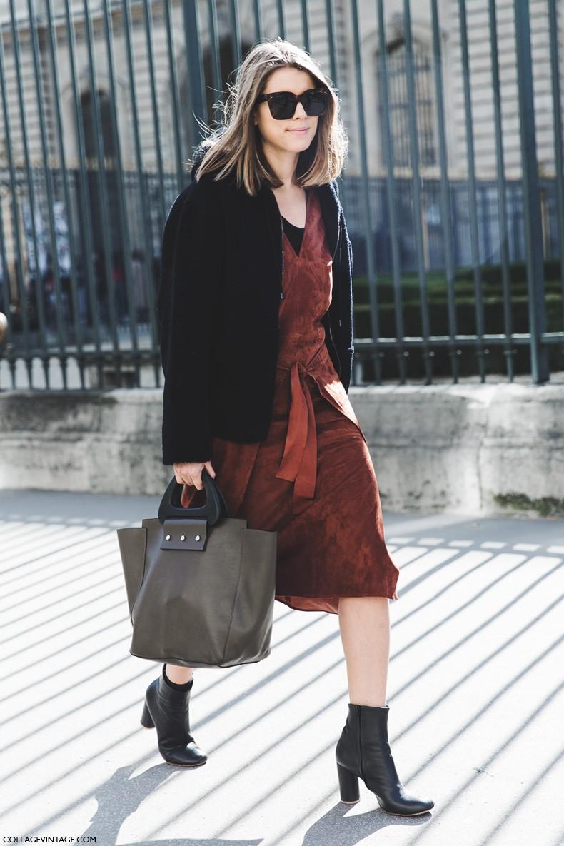 Paris_Fashion_Week-Fall_Winter_2015-Street_Style-PFW-Suede_Dress-1