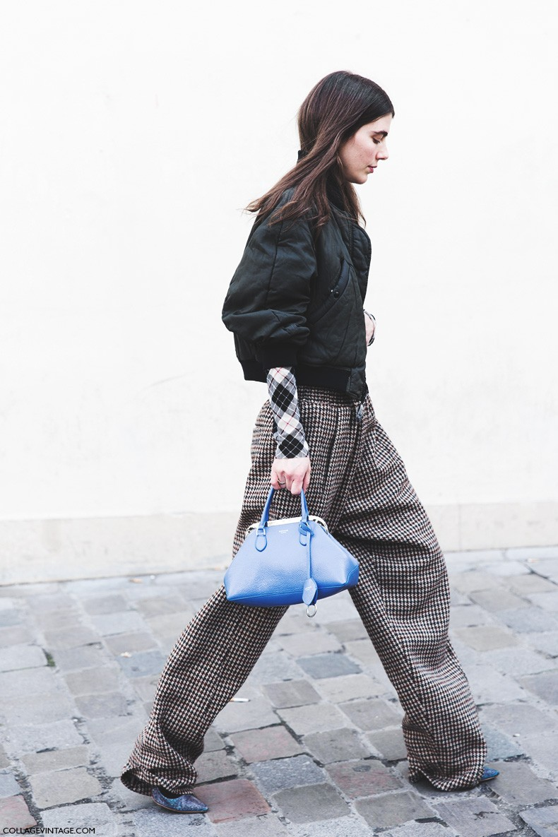 Paris_Fashion_Week-Fall_Winter_2015-Street_Style-PFW-Ursina_Gisy-Tartan_Trousers-Bomber-