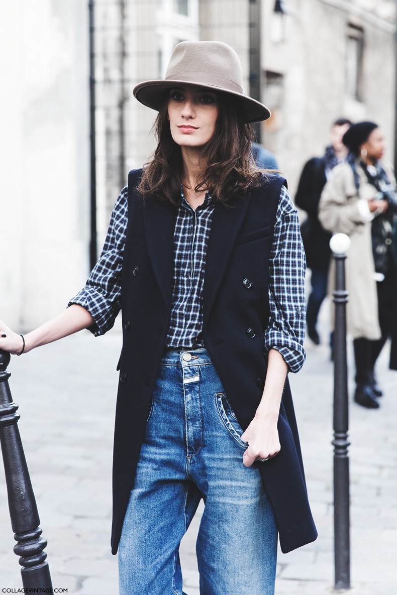 Paris_Fashion_Week-Fall_Winter_2015-Street_Style-PFW-VEst_Jeans_hat-