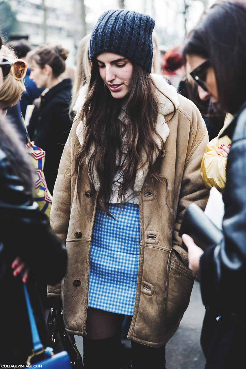 Paris_Fashion_Week-Fall_Winter_2015-Street_Style-PFW-Vintage_Coat-BEanie-Miu_Miu-