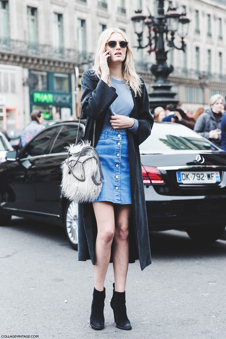 Paris_Fashion_Week-Fall_Winter_2015-Street_Style-PFW-Denim_Skirt-Stella_McCartney-Model-