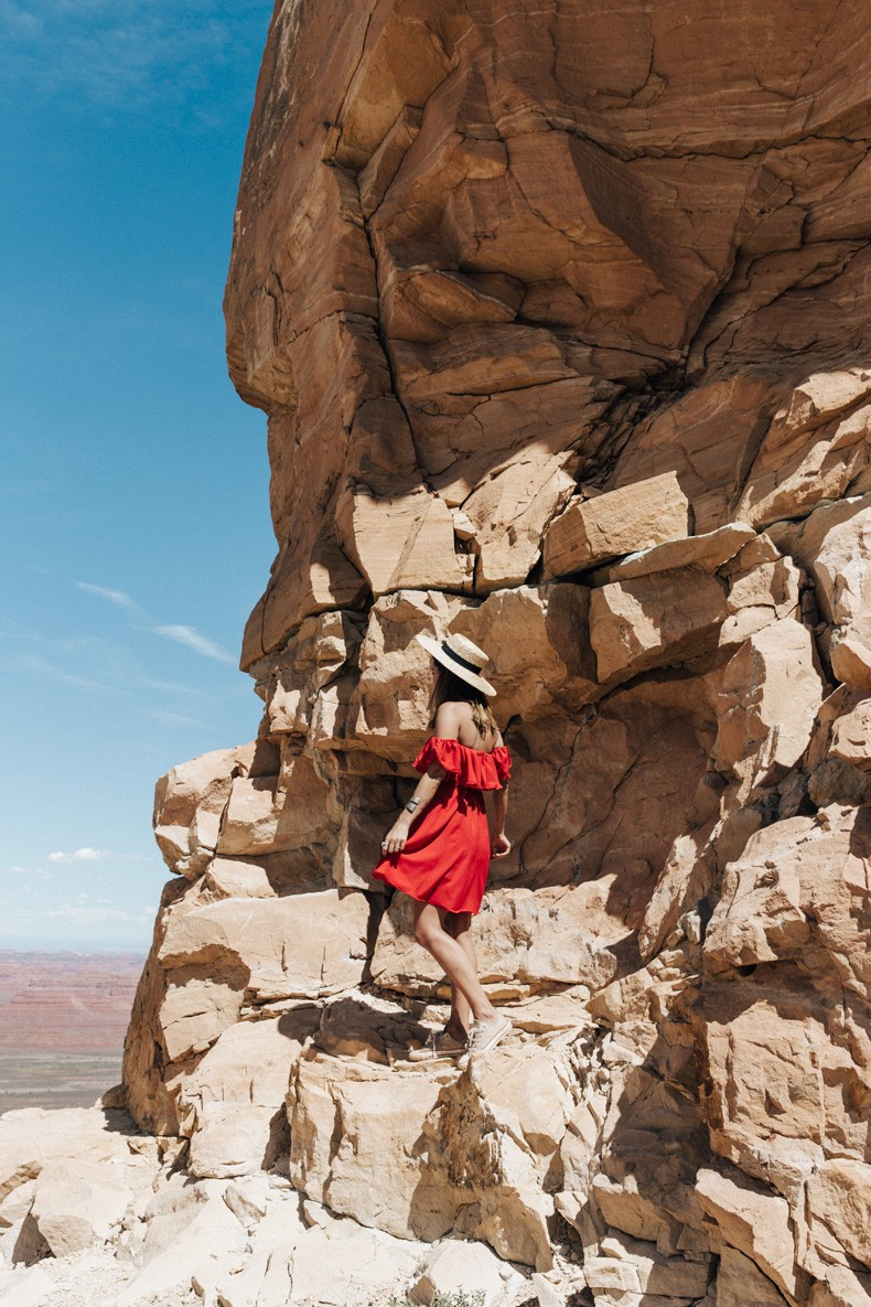 Gooseneck_State_Park-Glen_Canyon-Natural_Bridges-Utah-Chicwish-Off_The_Shoulders_Dress-Red-Converse-Collage_Vintage-Road_Trip-40