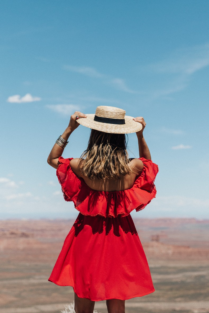 Gooseneck_State_Park-Glen_Canyon-Natural_Bridges-Utah-Chicwish-Off_The_Shoulders_Dress-Red-Converse-Collage_Vintage-Road_Trip-55