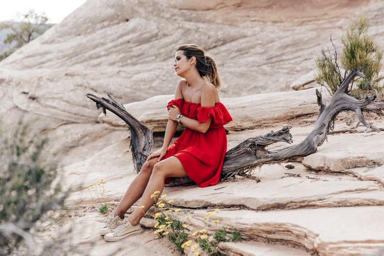 Gooseneck_State_Park-Glen_Canyon-Natural_Bridges-Utah-Chicwish-Off_The_Shoulders_Dress-Red-Converse-Collage_Vintage-Road_Trip-90