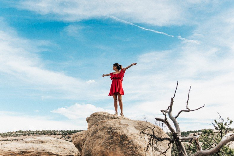 Gooseneck_State_Park-Glen_Canyon-Natural_Bridges-Utah-Chicwish-Off_The_Shoulders_Dress-Red-Converse-Collage_Vintage-Road_Trip-93