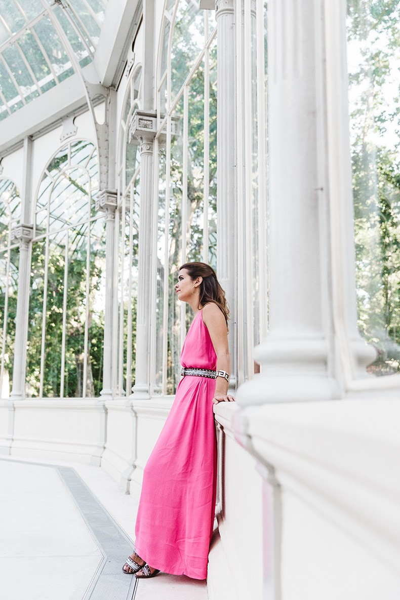 Maje_Gysept_Collection-Long_Pink_Dress-Brown_Sandals-Outfit-Collage_Vintage-Palacio_Cristal-2
