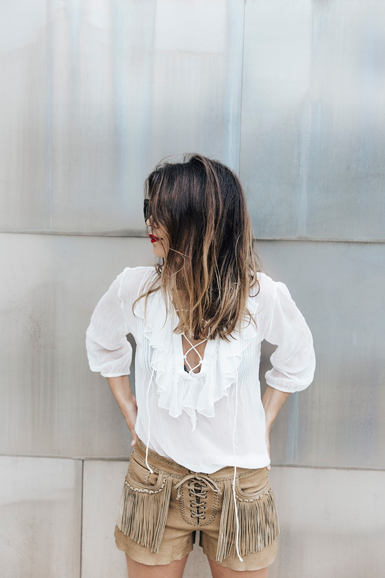 Polo_Ralph_Lauren-Bilbao-Collage_Vintage-Ruffled_Lace_Up_Blouse-Deerskin_Fringe_Short-Cardigan-Raffia_Wedges-Guggenheim-10