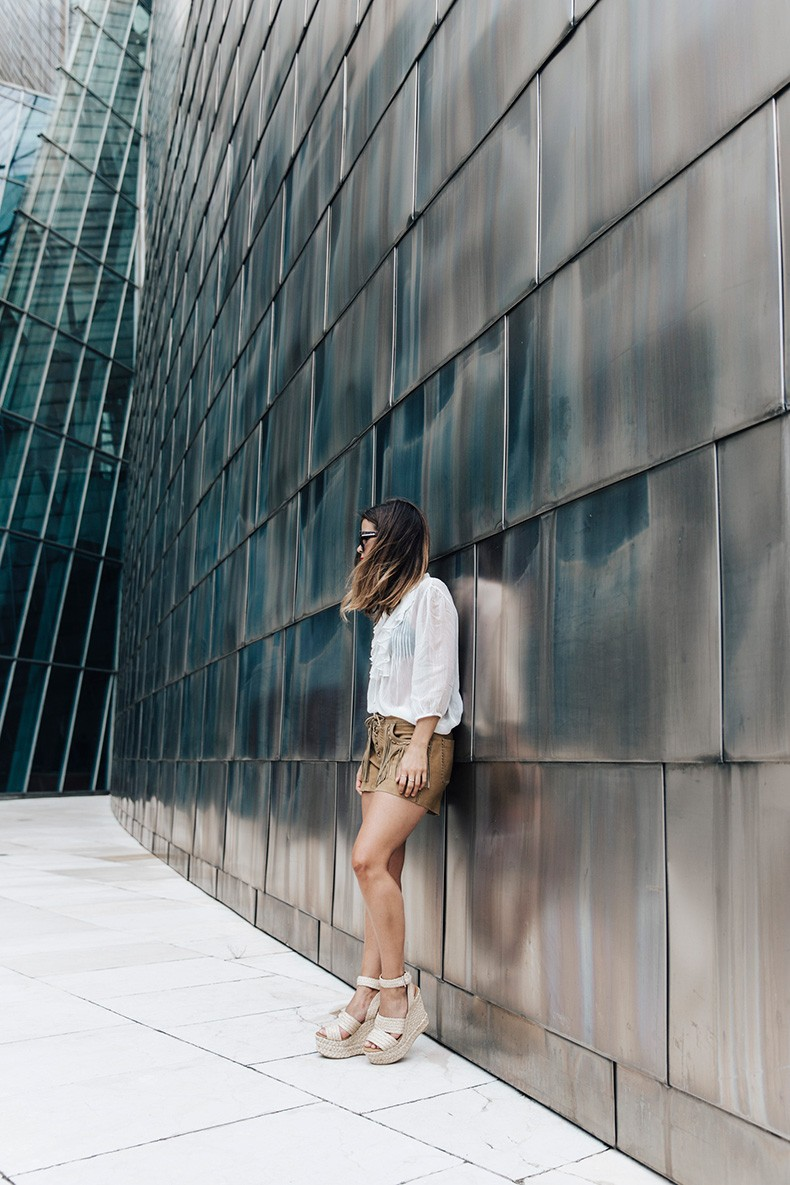 Polo_Ralph_Lauren-Bilbao-Collage_Vintage-Ruffled_Lace_Up_Blouse-Deerskin_Fringe_Short-Cardigan-Raffia_Wedges-Guggenheim-22