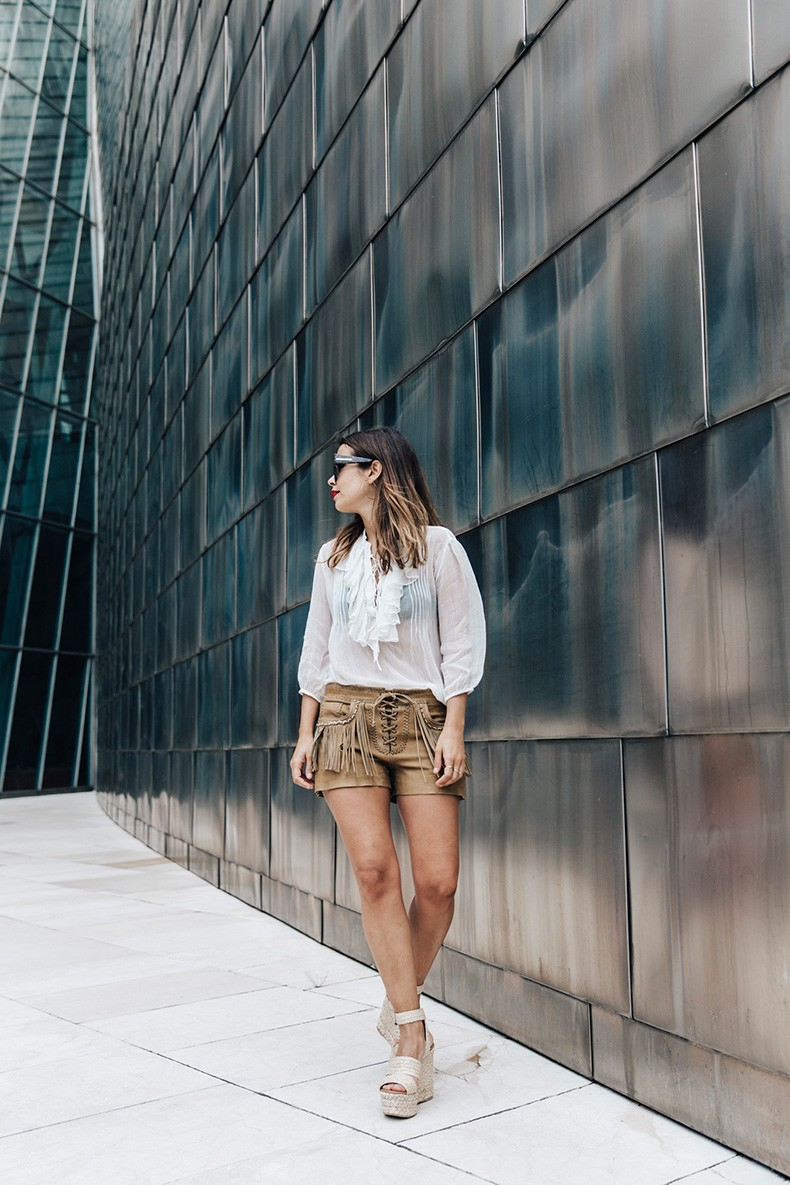 Polo_Ralph_Lauren-Bilbao-Collage_Vintage-Ruffled_Lace_Up_Blouse-Deerskin_Fringe_Short-Cardigan-Raffia_Wedges-Guggenheim-29