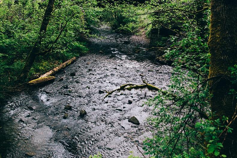 Oregon-Multnomah_Falls-Khaki_Jumpsuit-Denim_Jacket-Lace_Up_Espadrilles-Outfit-Collage_On_The_Road-37