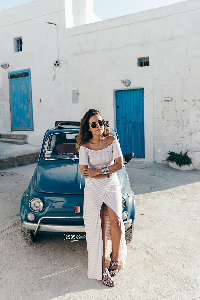 Guerlain-Terracotta-Summer_2015-Polignano_a_Mare-Fiat_600-Striped_Suite-Sabo_Skirt-Crop_Top-Summer-Ray_Ban_Sunnies-Summer-Outfit-Collage_Vintage-30
