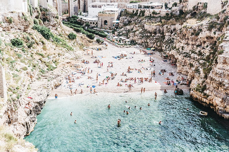 Polignano_A_Mare-Cala_Porto-Maje_Swimsuit-Ray_Ban-Floral_Headbanda-Claires_Bracelet-Swimwear-Italy_Road_Trip-30