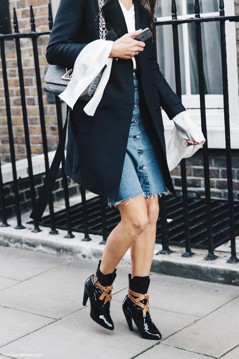 London_Fashion_Week-Spring_Summer_16-LFW-Street_Style-Collage_Vintage-Louis_Vuitton_Booties-Denim_Skirt-