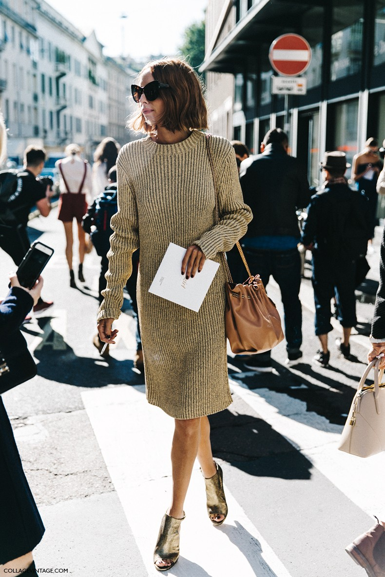 MFW-Milan_Fashion_Week-Spring_Summer_2016-Street_Style-Say_Cheese-Candela_Novembre-Knitted_Dress-Golden_Shoes-
