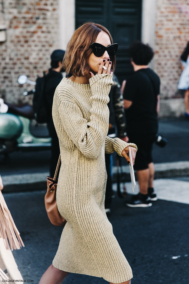 MFW-Milan_Fashion_Week-Spring_Summer_2016-Street_Style-Say_Cheese-Candela_Novembre-Knitted_Dress-Golden_Shoes-2