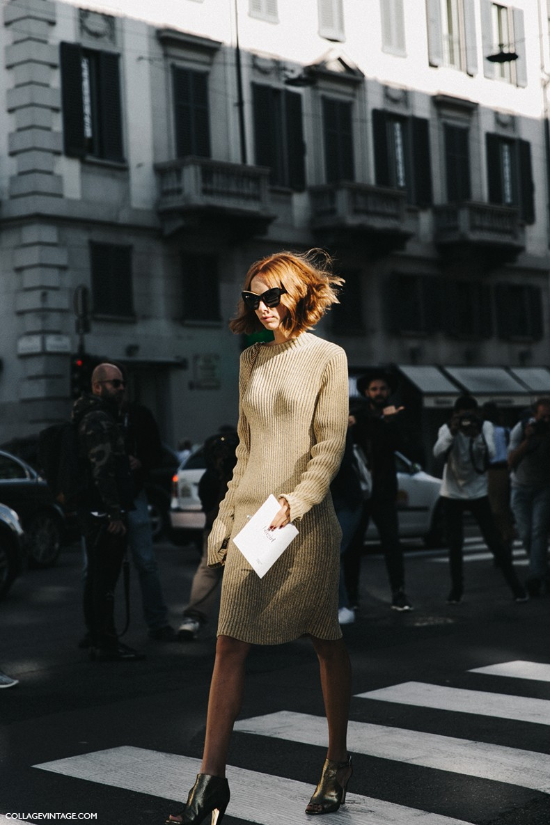 MFW-Milan_Fashion_Week-Spring_Summer_2016-Street_Style-Say_Cheese-Candela_Novembre-Knitted_Dress-Golden_Shoes-7