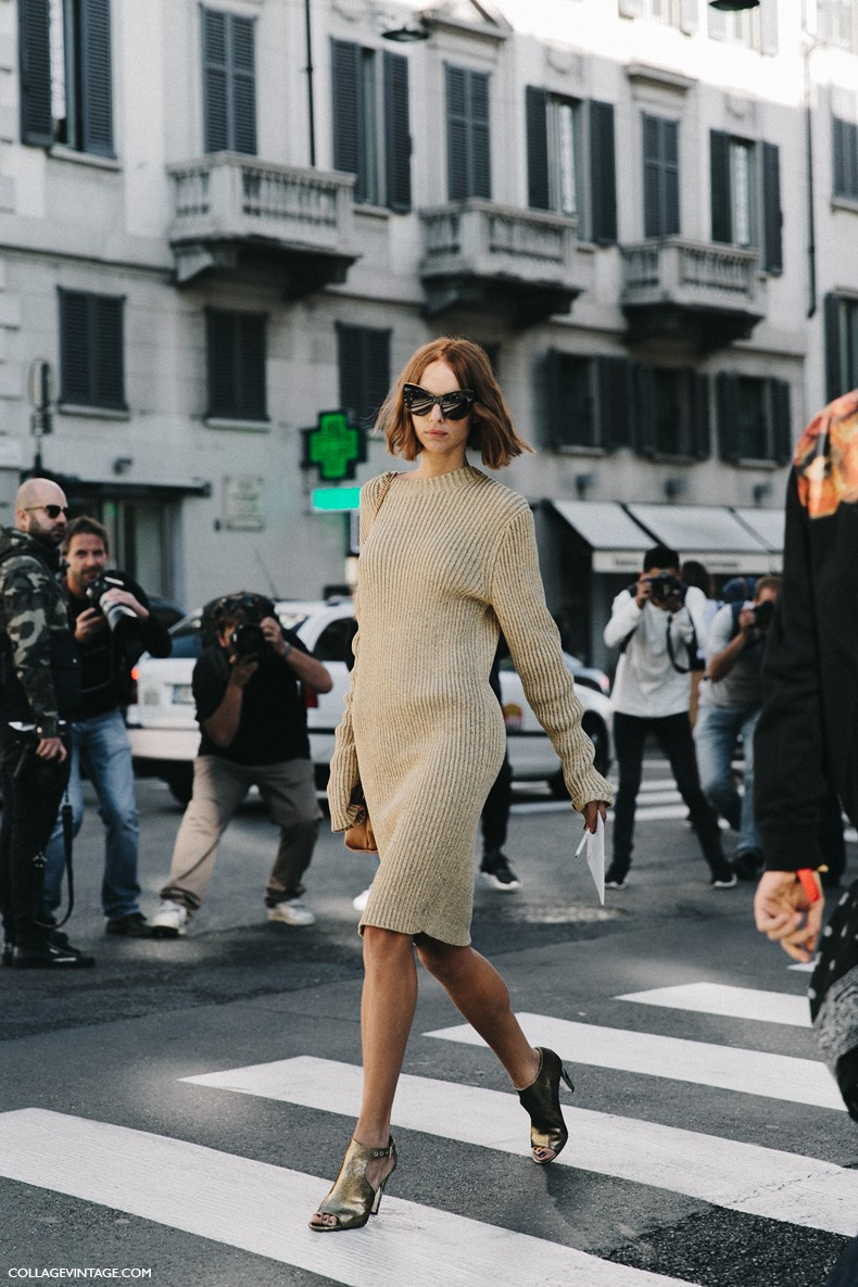 MFW-Milan_Fashion_Week-Spring_Summer_2016-Street_Style-Say_Cheese-Candela_Novembre-Knitted_Dress-Golden_Shoes-8