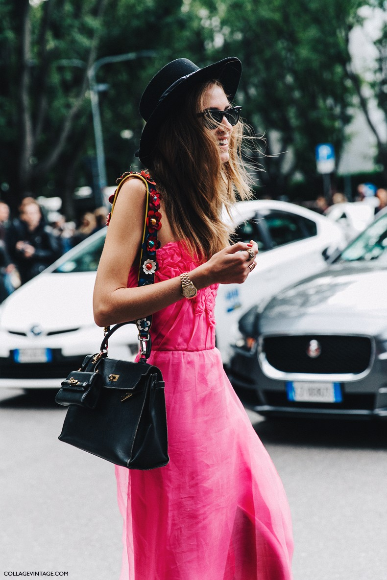 MFW-Milan_Fashion_Week-Spring_Summer_2016-Street_Style-Say_Cheese-Chiara_Ferragni-Pink_Dress-Bandeau-Hat-