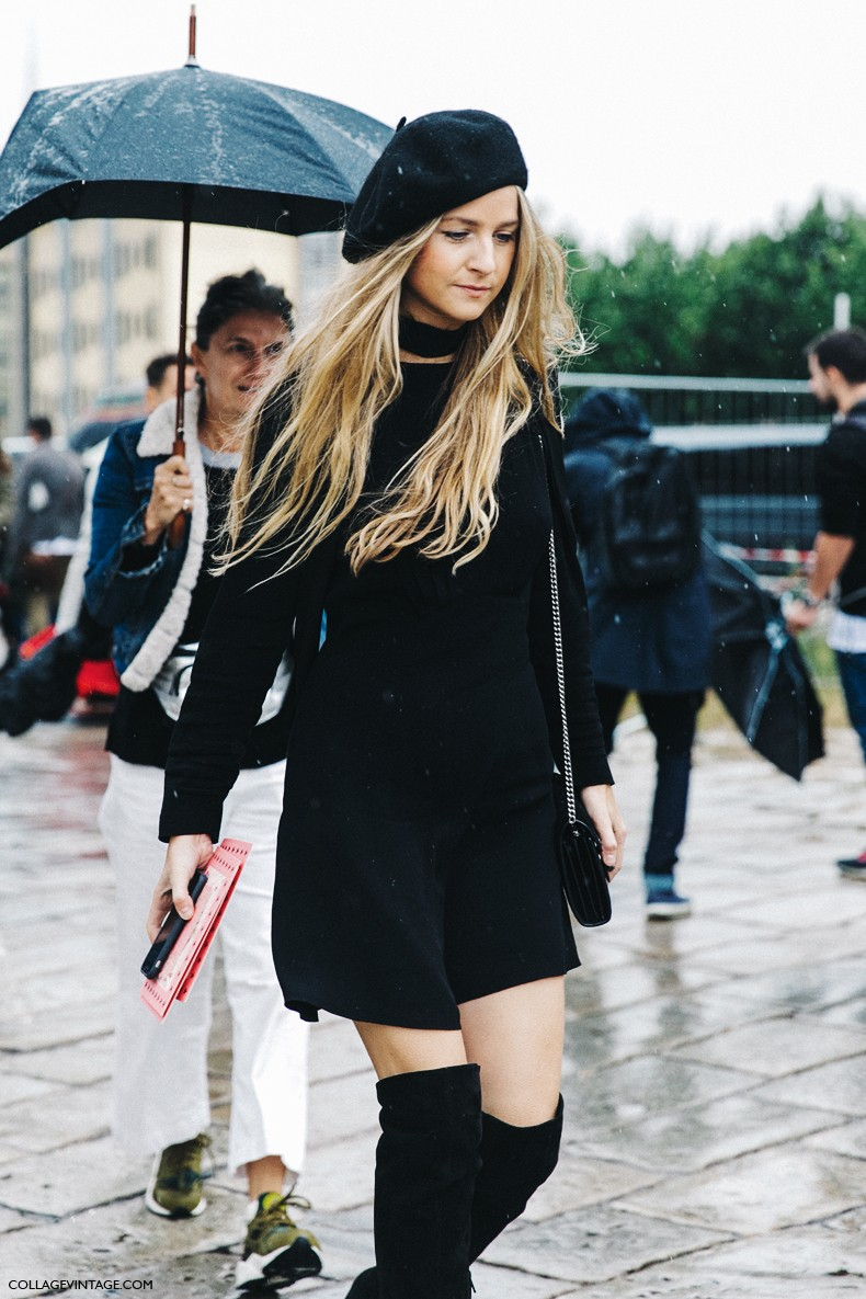 MFW-Milan_Fashion_Week-Spring_Summer_2016-Street_Style-Say_Cheese-Gucci-Wool_Beret-Total_Black_Outfit-Over_The_Knee_Boots-