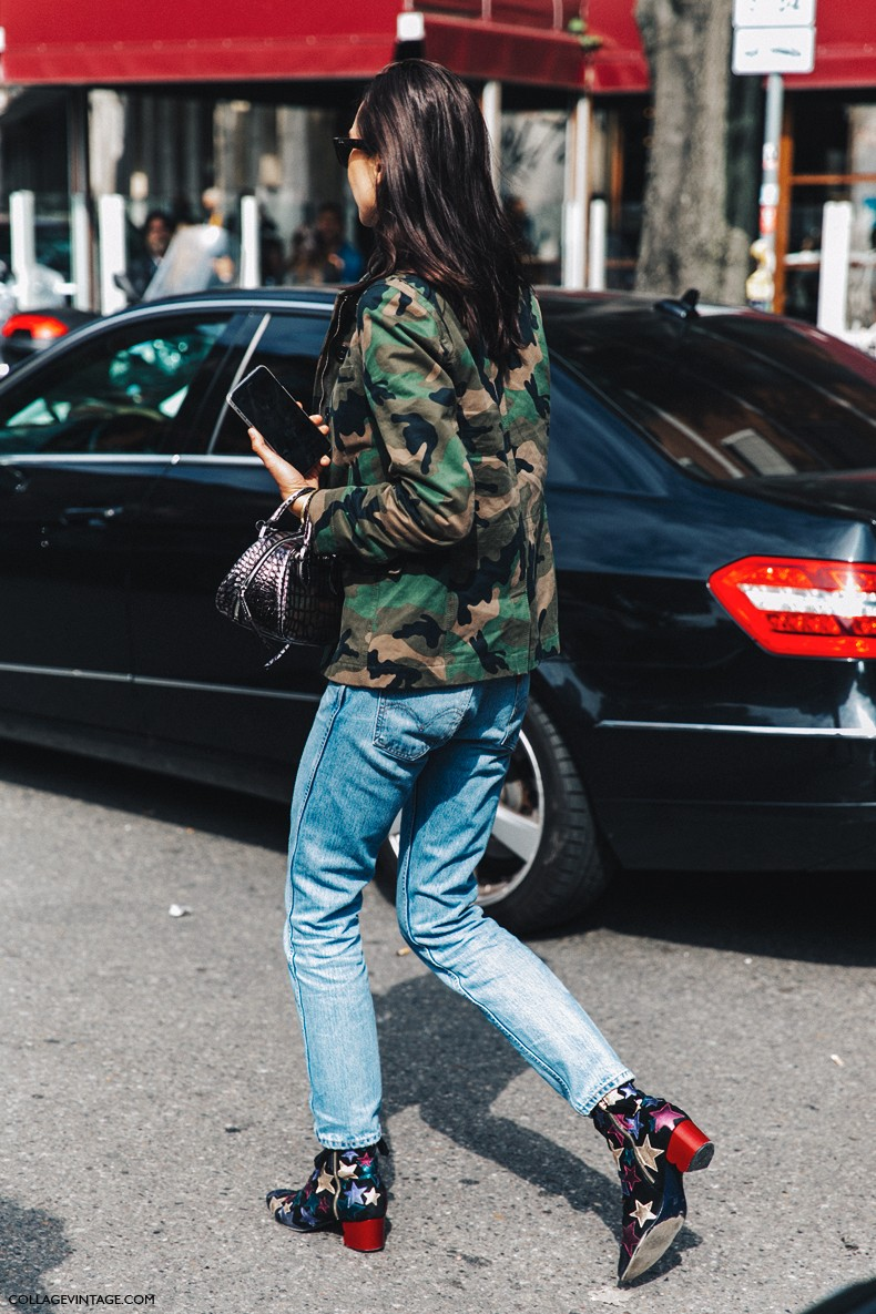 MFW-Milan_Fashion_Week-Spring_Summer_2016-Street_Style-Say_Cheese-Military_Jacket-Levis-Stars_Boots-Tommy_Hilfigher-