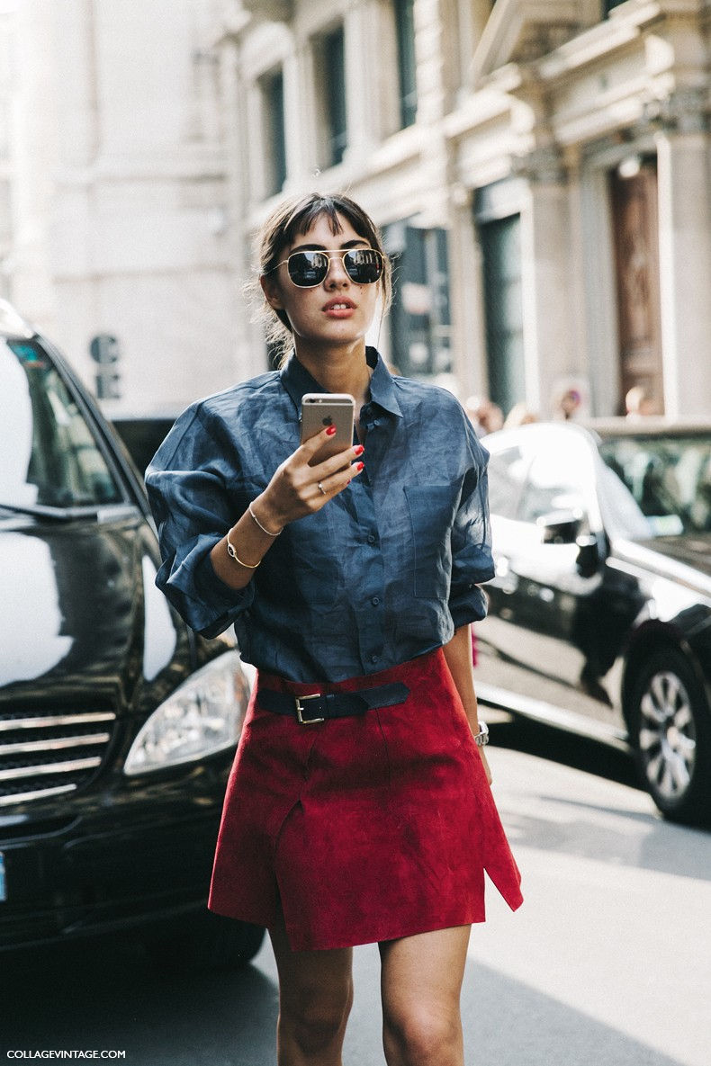 MFW-Milan_Fashion_Week-Spring_Summer_2016-Street_Style-Say_Cheese-Patricia_Manfield-Red_Suede_Skirt-