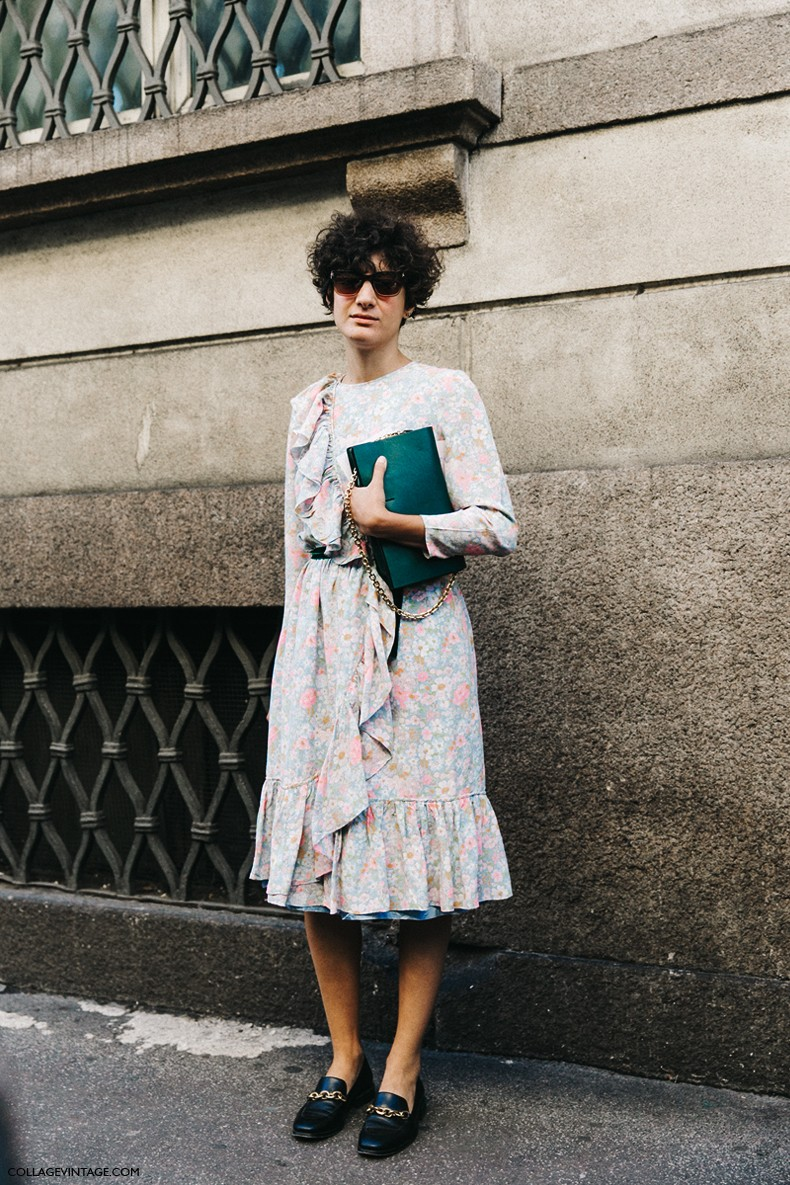 MFW-Milan_Fashion_Week-Spring_Summer_2016-Street_Style-Say_Cheese-Vintage_Dress-Loafers-