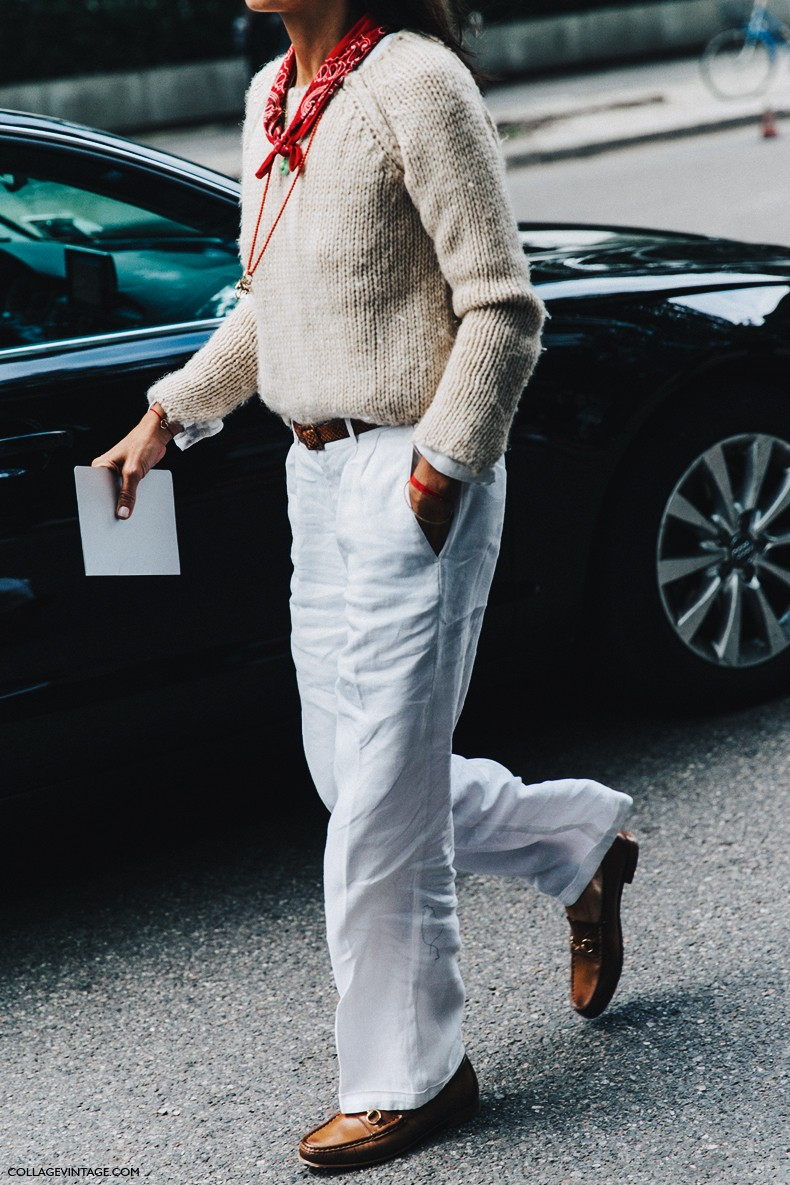 MFW-Milan_Fashion_Week-Spring_Summer_2016-Street_Style-Say_Cheese-White_Trousers-Bandana-Loafers-