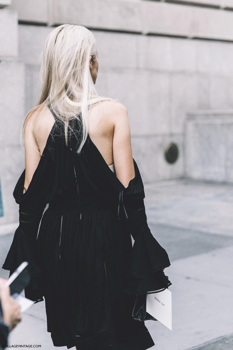 New_York_Fashion_Week-Spring_Summer-2016--Street-Style-Black_Dress-Off_The_Shoulders-