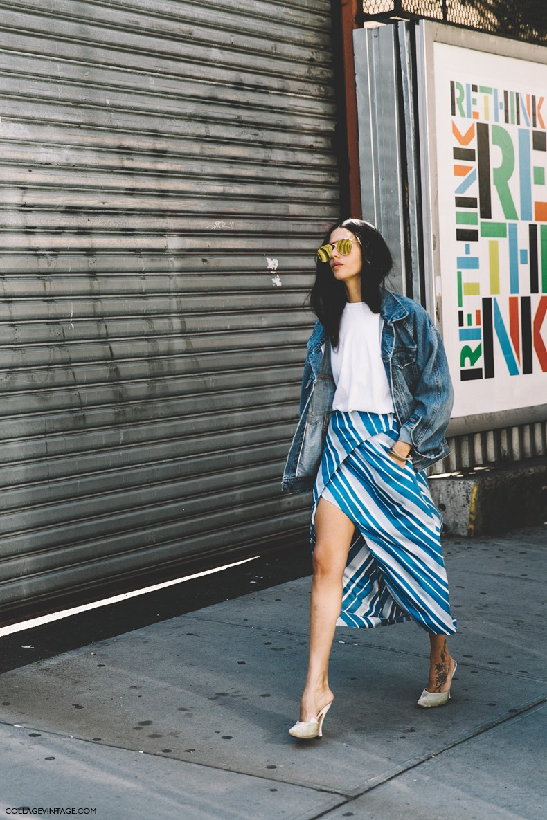 New_York_Fashion_Week-Spring_Summer-2016-Street-Style-Gilda_Ambrossio-JWAnderson_Striped_Skirt-Vintage_Levis-4