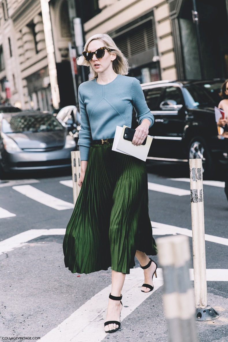 New_York_Fashion_Week-Spring_Summer-2016--Street-Style-Green_Midi_pleated_Skirt