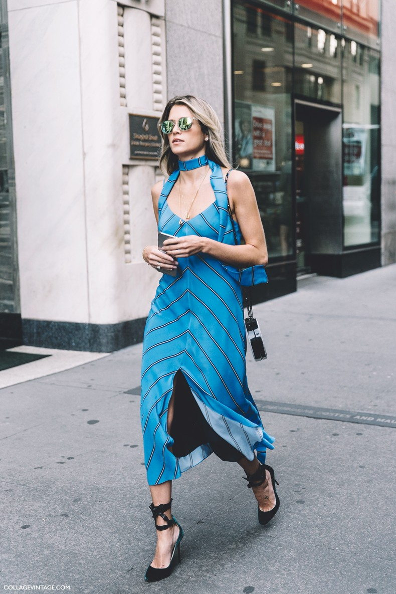 New_York_Fashion_Week-Spring_Summer-2016--Street-Style-Helena_Bordon-Striped_Dress-Jimmy_Choo_Shoes-