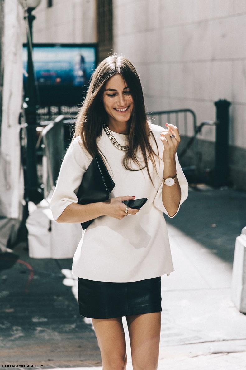 New_York_Fashion_Week-Spring_Summer-2016-Street-Style-Jessica_Minkoff-Diesel_Black_And_Gold-Giorgia_Tordini-Mini_Skirt-4