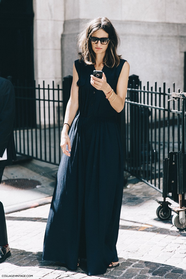 New_York_Fashion_Week-Spring_Summer-2016-Street-Style-Jessica_Minkoff-Diesel_Black_And_Gold-Maxi_Dress-Black-
