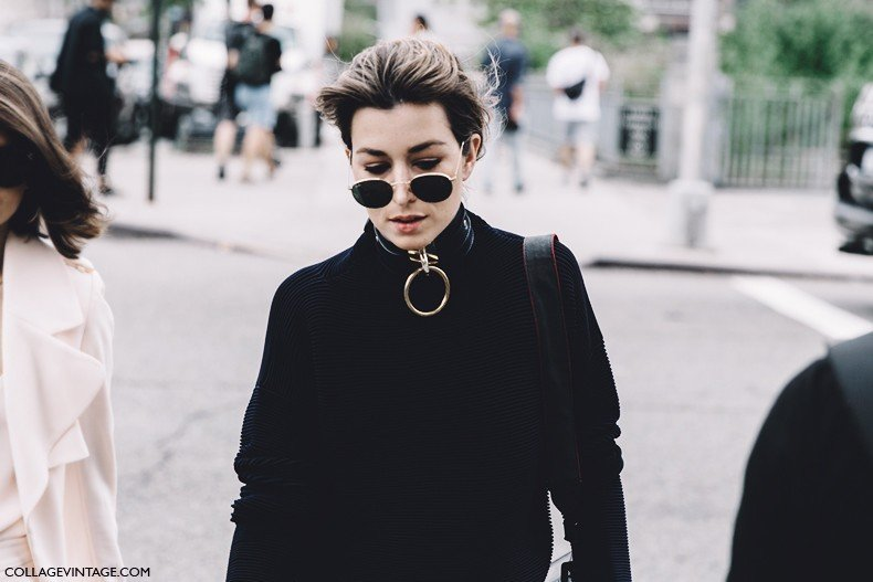 New_York_Fashion_Week-Spring_Summer-2016--Street-Style-Lacoste-Rounded_Ray_Ban_Gold_Necklace