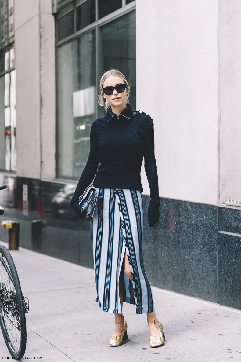 New_York_Fashion_Week-Spring_Summer-2016--Street-Style-Look_Pernille-Striped_Dress-Celine_Shoes-Navy-