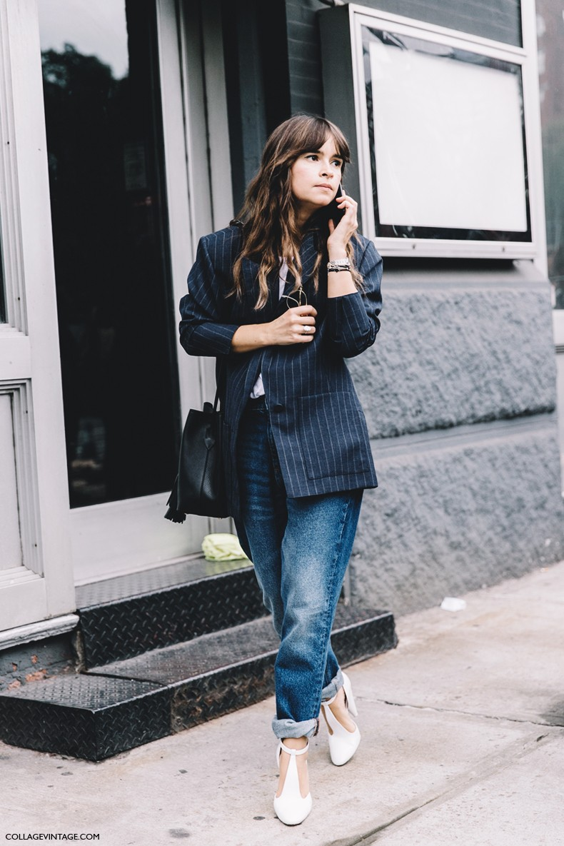 New_York_Fashion_Week-Spring_Summer-2016--Street-Style-Miroslava_Duma-Tango_Shoes-Striped_Blazer-Jeans-