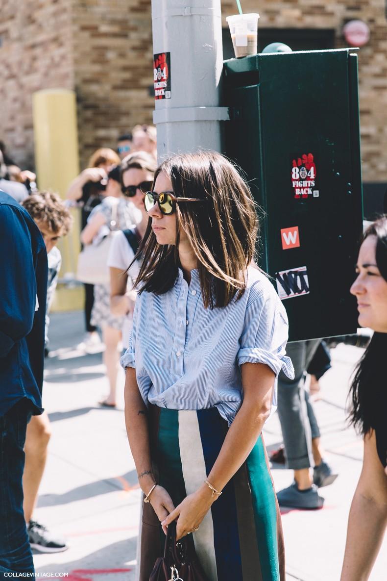 New_York_Fashion_Week-Spring_Summer-2016--Street-Style-Natasha_Goldenberg-Striped_Blouse-Striped_Skirt-