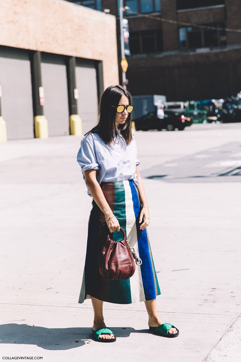 New_York_Fashion_Week-Spring_Summer-2016--Street-Style-Natasha_Goldenberg-Striped_Blouse-Striped_Skirt-1