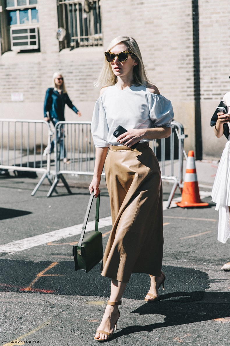 New_York_Fashion_Week-Spring_Summer-2016-Street-Style-Ralph_Lauren-Midi_Skirt-Off_The_Shoulders-