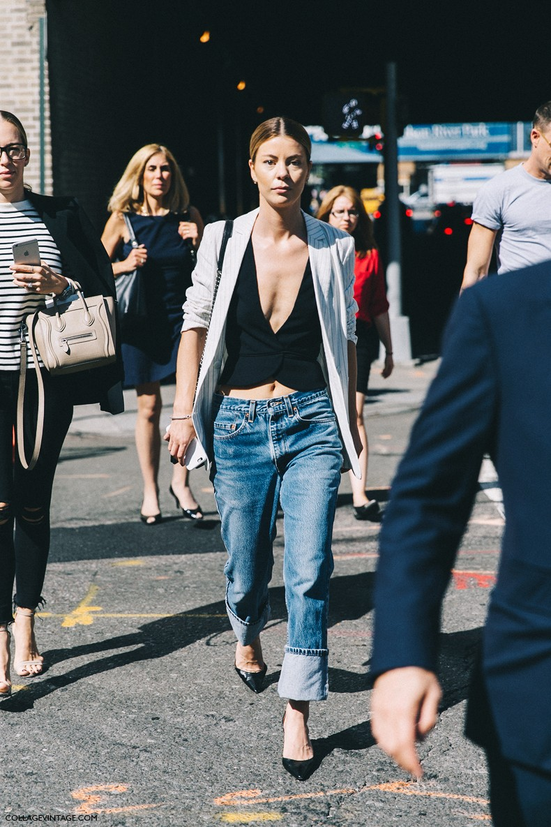 New_York_Fashion_Week-Spring_Summer-2016-Street-Style-Ralph_Lauren-Striped_Blazers-Jeans-Vest-2